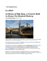 01-16-2017 NY Times_In Home of Hip-Hop, a Concert Hall to Honor Its Musical History