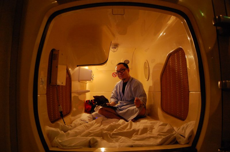 Japanese at Capsule Hotel