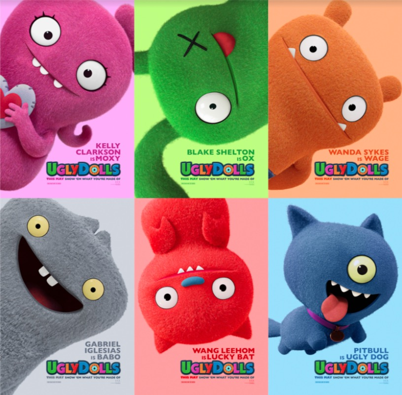 Meet Moxy, Ox, Wage, Babo, Lucky Bat and Ugly Dog from the UglyDolls movie