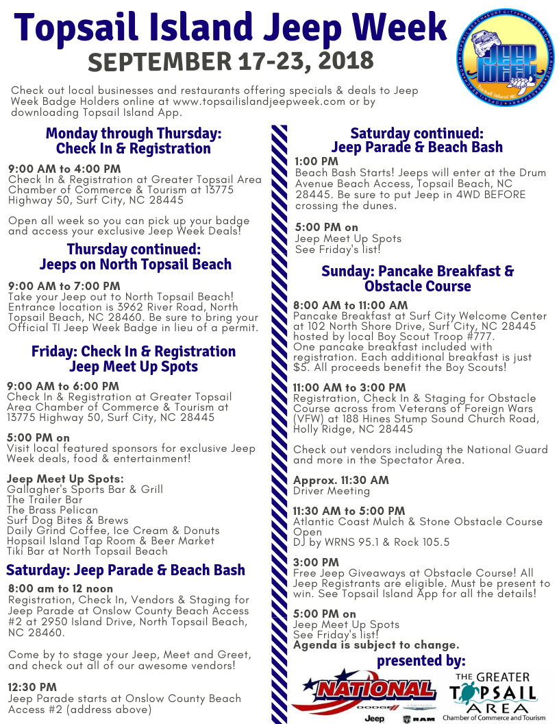Topsail Island Jeep Week Agenda 2018 Final Copy 09062018