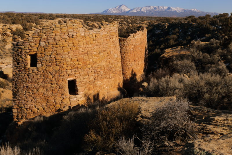 Twin Towers (with the Sleeping Ute Mountain shown in the distance)