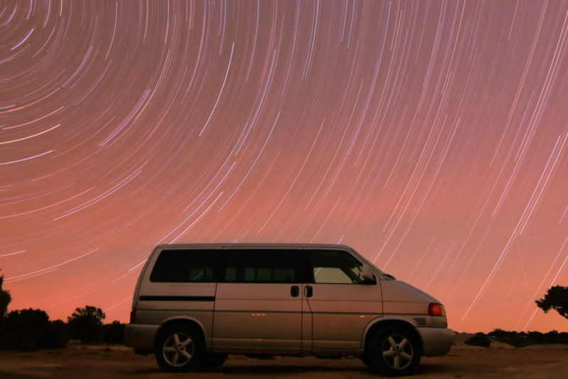 Star trails over my Eurovan.