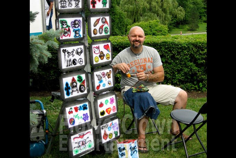 Larry Party Airbrush Tattoo Artist. Amusements Flower Entertainment Cleveland Ohio