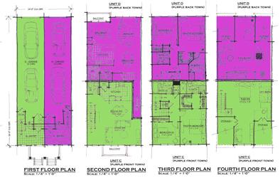 Center units - back-to-back townhouse floorplans