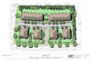 New plan provides same number of units as apartments plus buildings on two adjacent outparcels that were purchased.   A central green space provides barbeque facilities, dog walking station as well as a view through to a focal point from the entrance drive.