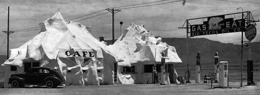 Historic photograph of igloo shaped cafe in Nob Hill on Route 66
