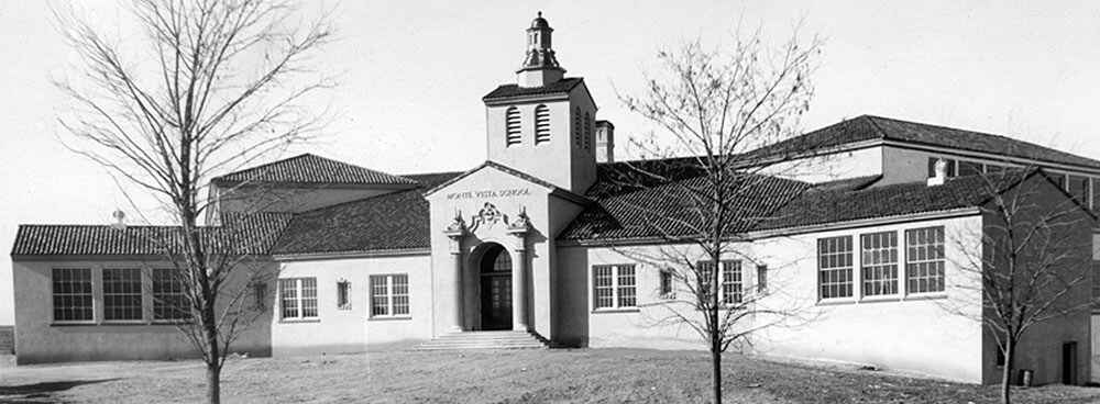 Historic photograph of Monte Vista Elementary School in Nob Hill in Albuquerque