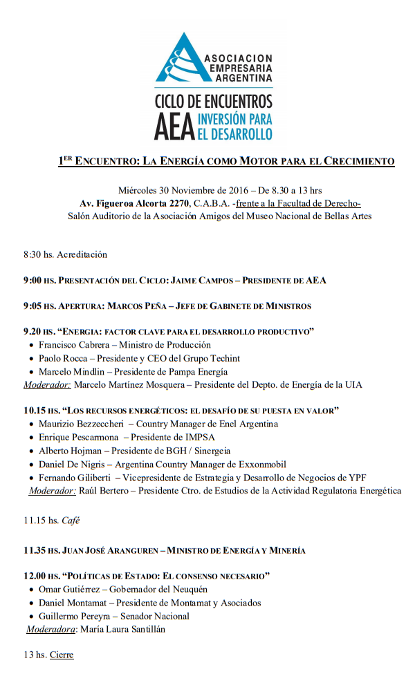 Programa Encuentro AEA Energia