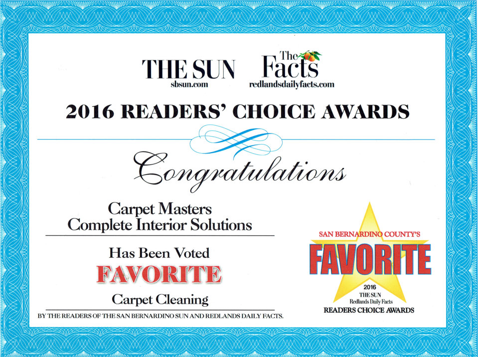 Best Carpet Cleaners Inland Empire Carpet Masters Complete Interior Solutions 2016 Readers Choice Awards