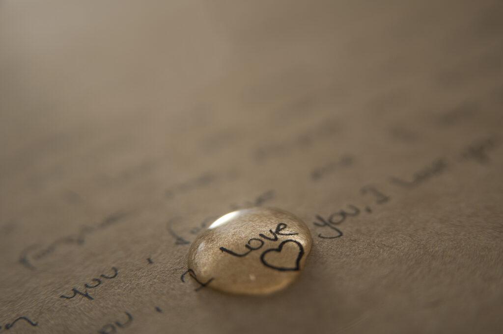 Tear drop on love letters