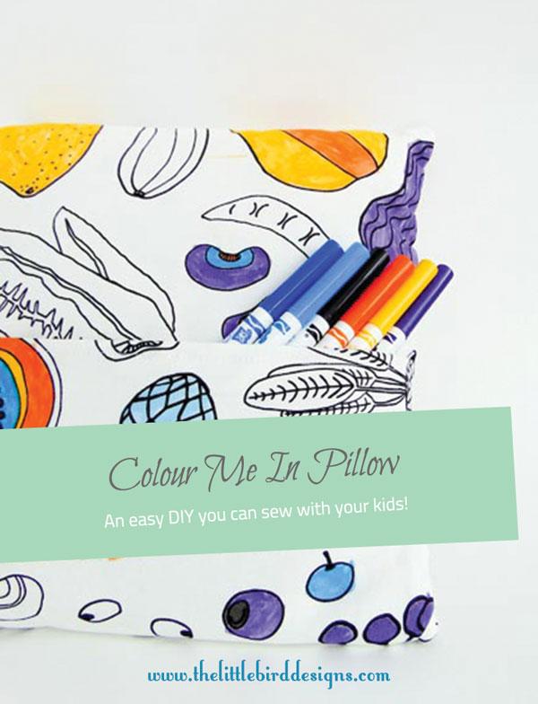 Easy DIY Colour Me In Pillow - The Little Bird Designs