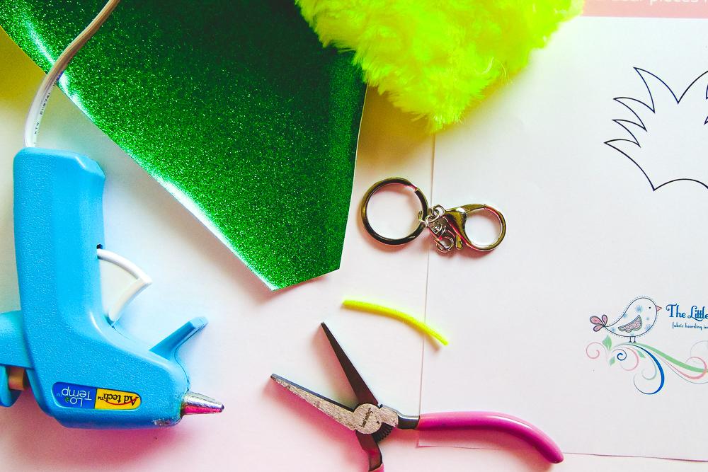 Fluffy Pineapple Key-Chain Tutorial - The Little Bird Designs - Supplies