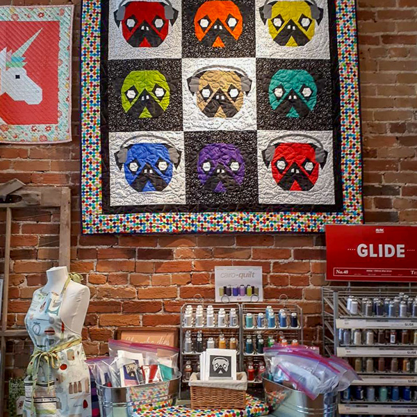 Hanging Full Quilt - Who Let the Pugs Out - The Little Bird Designs