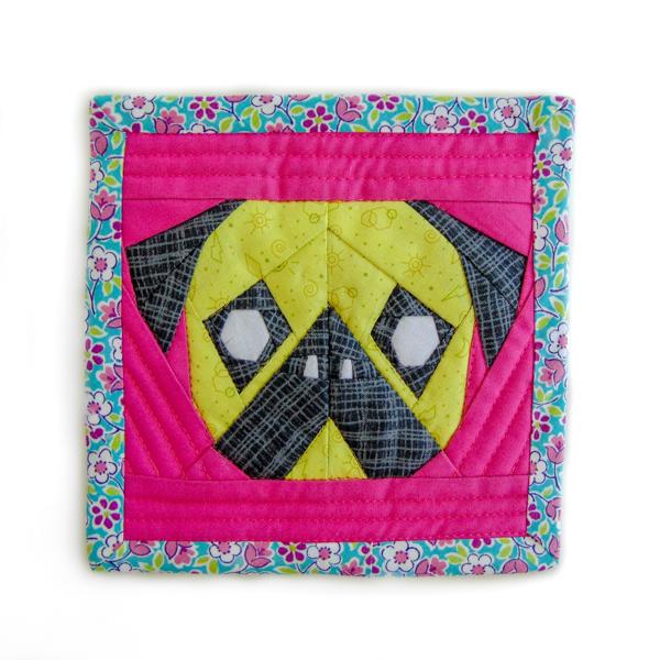 Pink Lemonade Pug Foundation Paper Pieced Pattern - The Little Bird Designs
