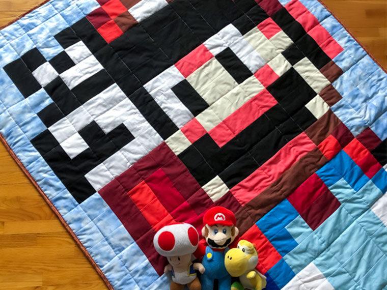 Mario Day 2020 - 16 bit Mario Quilt - The Little Bird Designs - feature