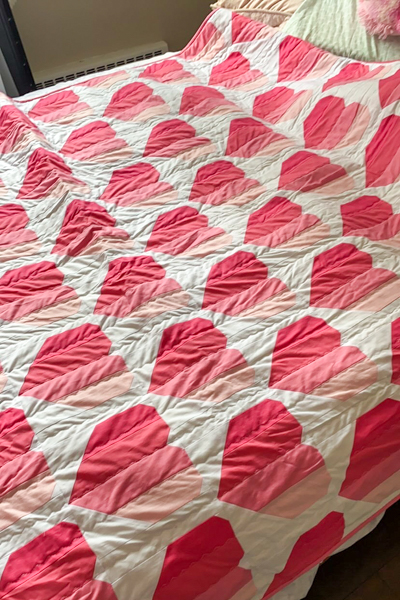 Perfect size for her bed - Ashley's Infinite Hears Quilt - The Little Bird Designs