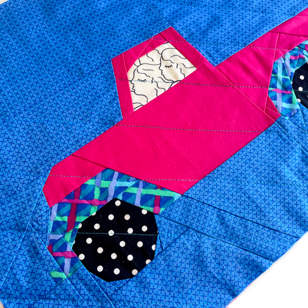 Close up of the front of the pink truck - Little Red Christmas Truck Pattern - The Little Bird Designs