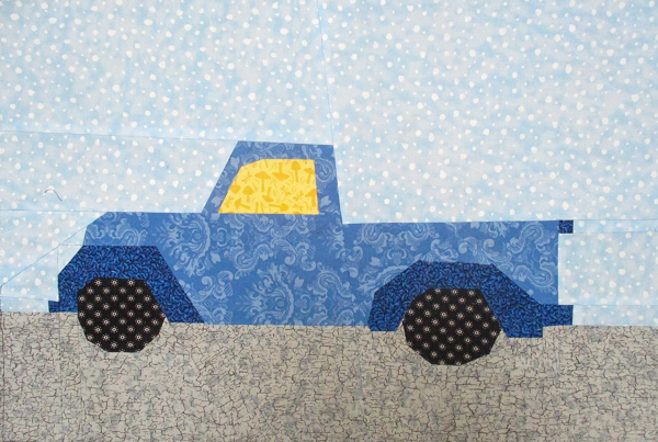 Dolores' Quilt Block - A Blue Truck with a road - Little Red Christmas Truck Pattern - The Little Bird Designs