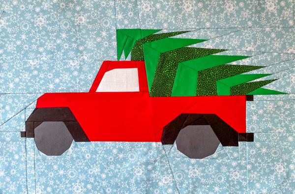 Full Little Red Christmas Truck Block - Little Red Christmas Truck Pattern - The Little Bird Designs