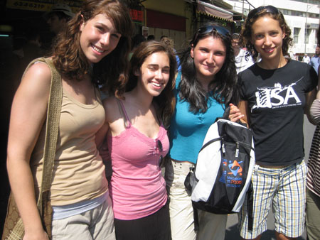 Members of the US Maccabiah Fencing team at the shuk