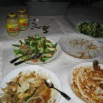 Latkes, gelt, apple sauce, and chinese food mix