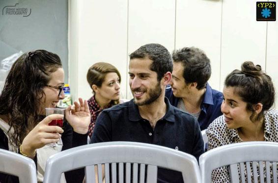 Participants sip wine, joke around, and talk business.