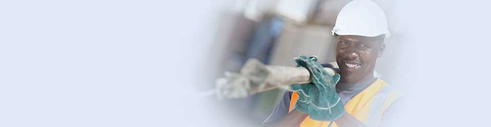 Contractor carrying metal poles