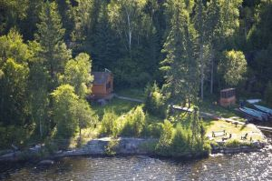Canadian Fly in Fishing Outpost Cabin viewed from the air