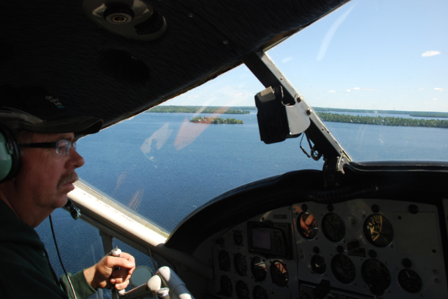 Faron prepares to land at Cat Island Lodge on Trout Lake.