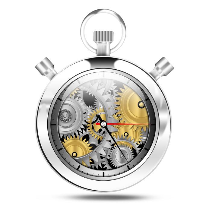 Mechanical clock stop watch, illustration