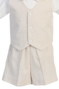 Lito Vest and shorts with Tan and White Stripes1