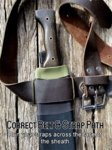North Arm Machete Co's Tramontina Bolo sheath. Shows correct use of the MultiFit Mounting Plate