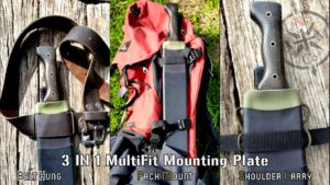 North Arm Machete Co's Tramontina Bolo sheath with a 3 in 1 MultiFit Mounting Plate