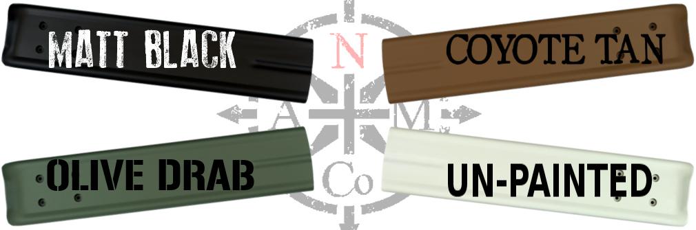 North Arm Machete Co's colour option chart on Hard Shell sheath. Matt Black, Olive Drab, Coyote Tan and un-painted PVC