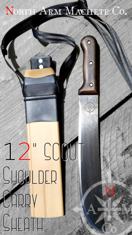 "Tramontina 12"" Latin machete with a North Arm Machete Co. Shoulder Carry Sheath"