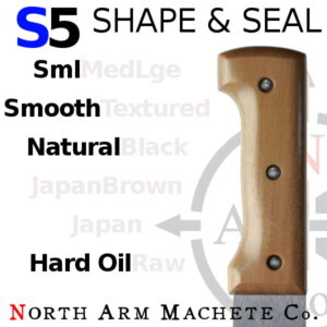 Natural Tramontina machete handle shaped and sealed by North Arm Machete Co