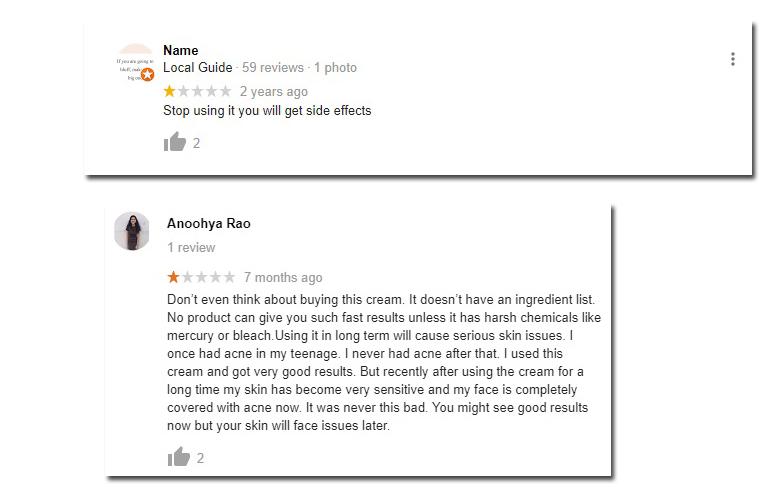 Classic White Cream Negative Reviews