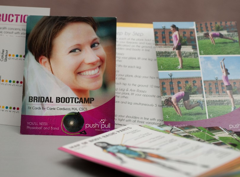 """Bridal Bootcamp Fit Cards: A set of 5x4"""" cards, providing you with the flexibility to customize each workout for your own set of needs."""