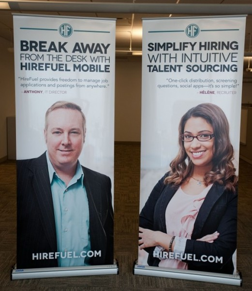 The purpose of these tradeshow banners is to highlight HireFuel's benefits to men and women who work in the fields of human resources and web-based information technology.