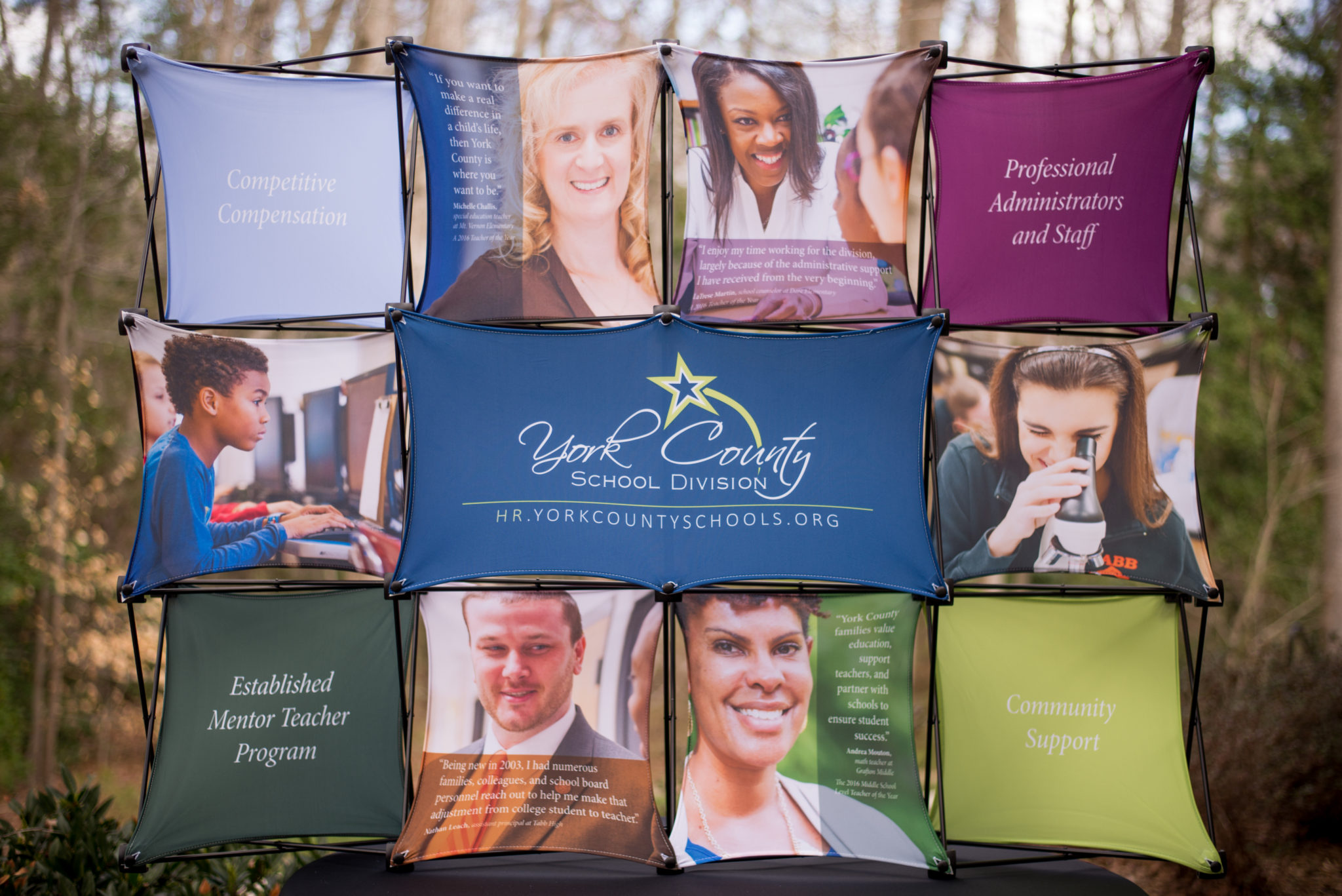 This award-winning campaign utilizes a job fair display, die cut handout, and website to garner more, quality applications for available teaching positions within YCSD. The strategic headers, quotes, and imagery consistently and cohesively touch the four main topics teachers are looking for in a school division: good compensation, helpful and caring administrators, professional development opportunities, and an engaged community.