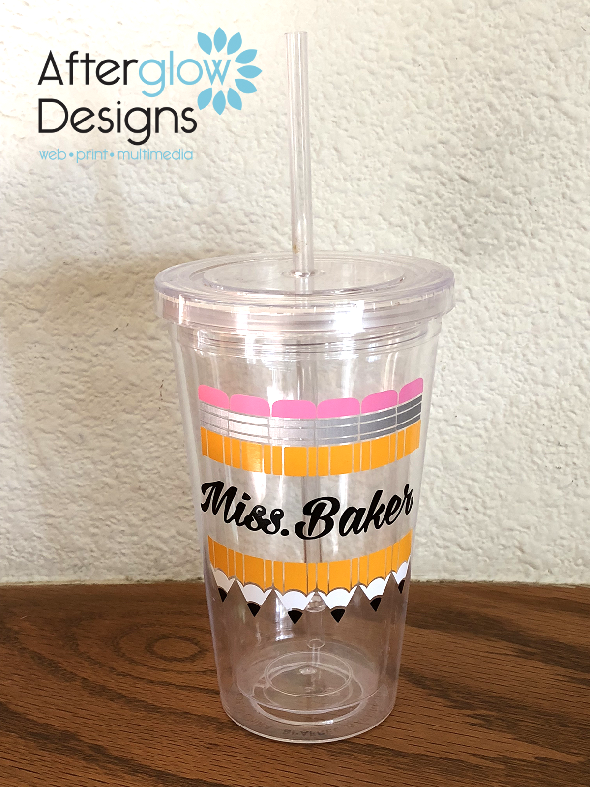 Pencils on on Plastic Travel Cup with Straw
