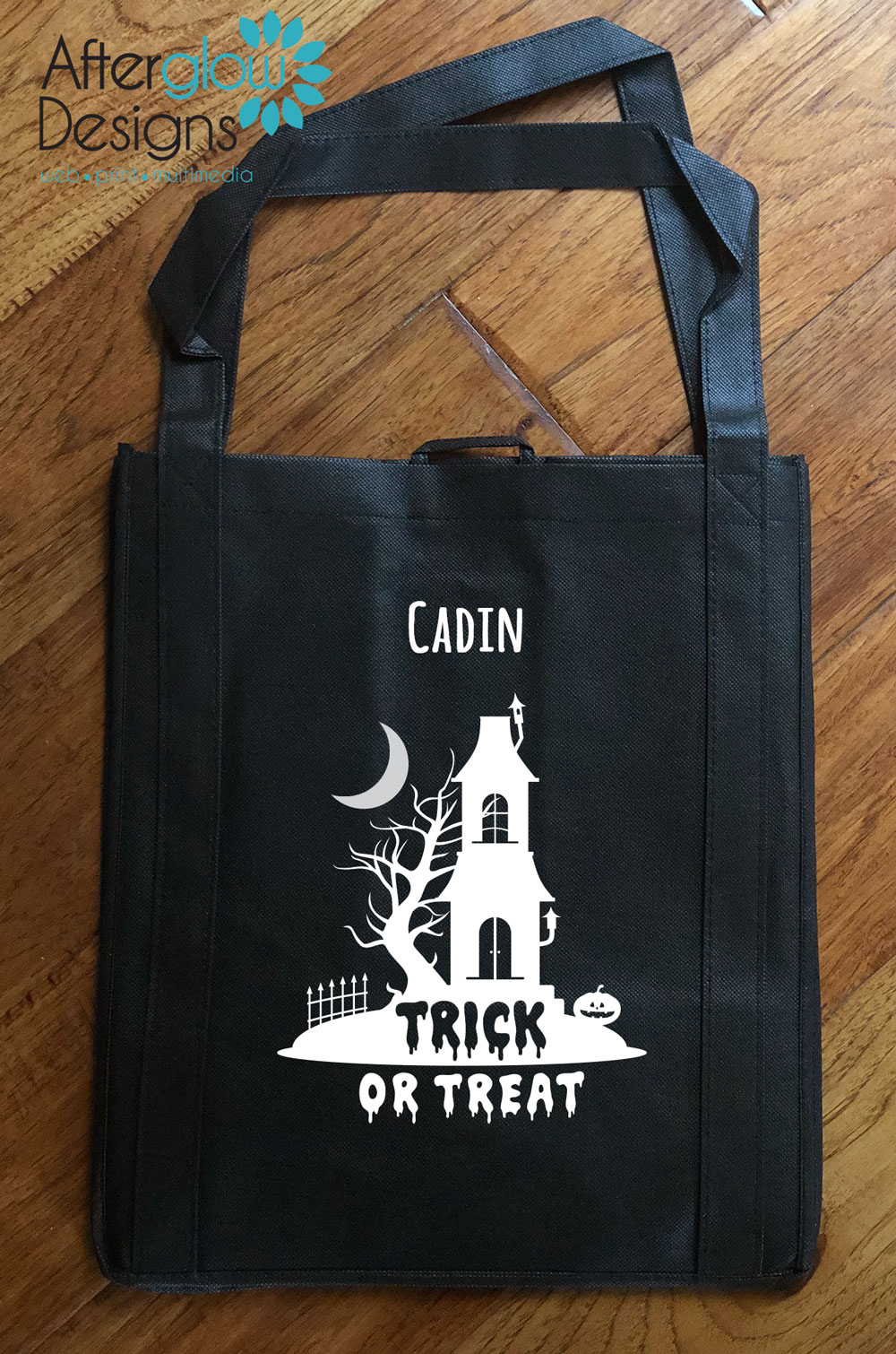 """Trick or Treat Bag - Glow in the Dark """"Haunted House"""""""