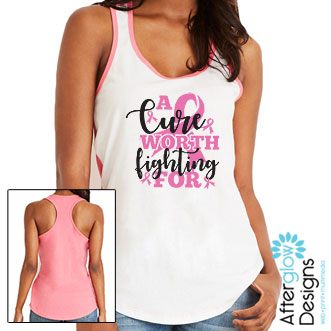 """""""A Cure Worth Fighting For"""" in Pink on Color Block Tank"""