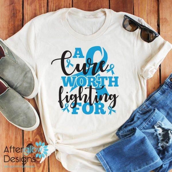 """""""A Cure Worth Fighting For"""" in Gentaine Blue on Crew Neck Tee"""