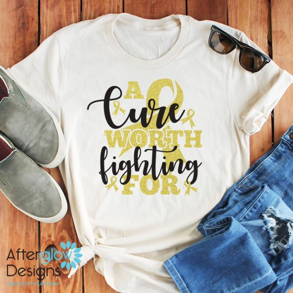 """""""A Cure Worth Fighting For"""" in Gold Glitter on Crew Neck Tee"""