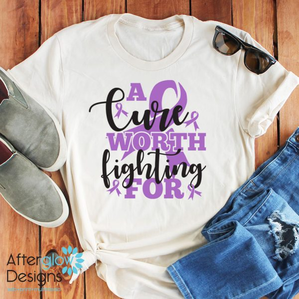 """""""A Cure Worth Fighting For"""" in Lavender on Crew Neck Tee"""