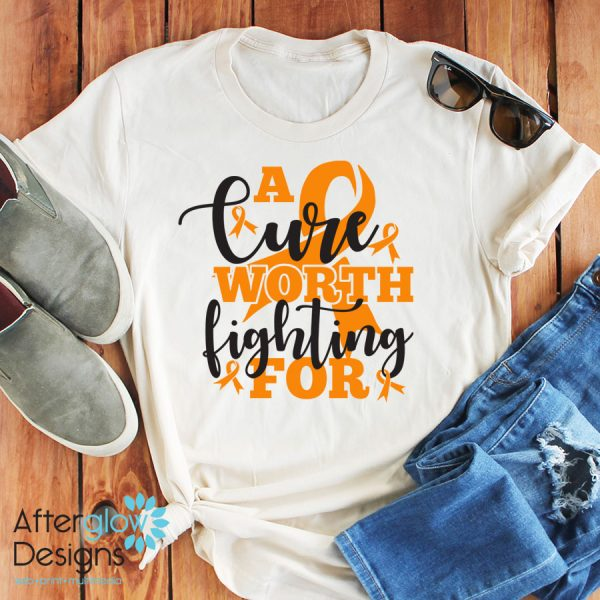 """""""A Cure Worth Fighting For"""" in Orange on Crew Neck Tee"""