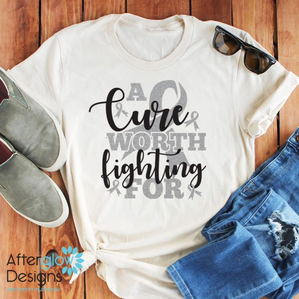 """""""A Cure Worth Fighting For"""" in Silver Glitter on Crew Neck Tee"""