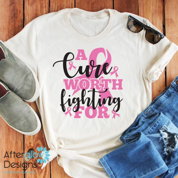 """""""A Cure Worth Fighting For"""" in Pink on White Crew Neck Tee"""