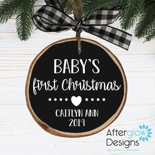 """""""Baby's First Christmas"""" Personalized Wood Ornaments"""